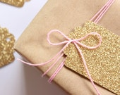 8 gold glitter gift tags  - sparkly paper gift tags - glitz and glamour gift tags