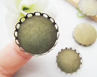 Antique Bronze Blank Round Charm Finding,Base Setting Tray Bezel,Lace Border,fit 20mm Cabochon/Bottle