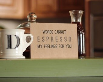 Espresso I Love You Coffee Card : Brown Kraft Paper