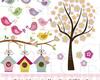 Birds and flowers digital illustration clipart set instant download