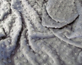Silver Minky Dot - Destash - Large Remnants - 19 x 34 inches - Minky Scraps - Shannon Cuddle Dimple Dot in Silver - Light grey