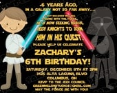 Star wars scroll birthday party printable invitations UPrint customized card by greenmelonstudios