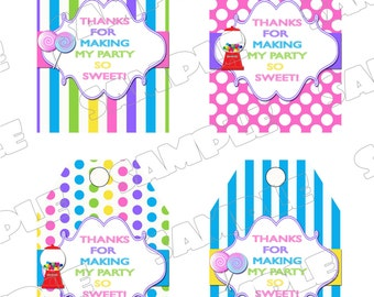 Candy Sweet Shoppe Thanks you tags hang tags INSTANT DOWNLOAD UPrint  by greenmelonstudios