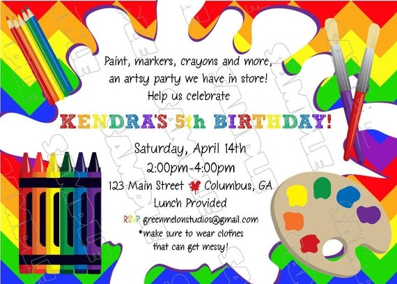 Items similar to art paint markers crayons invitation for Www uprint com templates