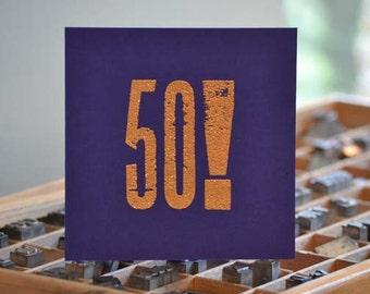 Letterpress 50th Card