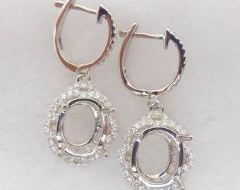 Solid 14K White Gold Oval 8x10MM Fashion Semi Mount Earrings