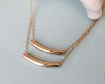 22 Karat Gold Double Bar Necklace