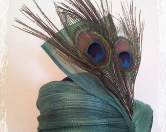 Bibi - headband Brigitte sinamay silk green and peacock feathers