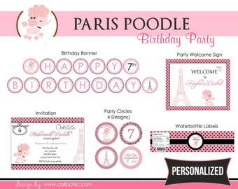 Paris Poodle Birthday Party Package for Girls