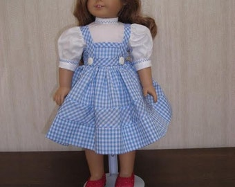 """18"""" Girl Doll Clothes 18"""" Dolls Wizard of Oz Dorothy Dress (Jumper, Blouse, plus Ruby Slippers)"""