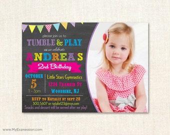 Rainbow Chalkboard Gym Birthday Invitations - Gymnastics Photo Birthday Invitations -  Digital or Printed