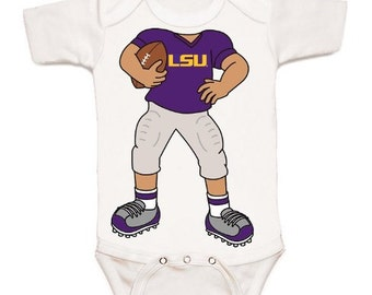 LSU Tigers Heads Up! Football Baby Bodysuit