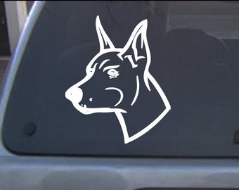 Doberman pinscher dog 1c decal sticker, Free shipping to USA, 12 colors to pick,  6 inches on longest side and more sizes to pick