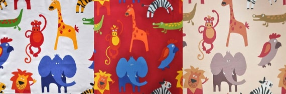 Jungle animal nursery fabric by the metre by for Safari fabric for nursery