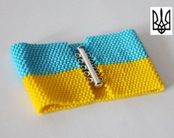 Ukrainian Flag With Coat Of Arms Seed Bead Bracelet Pattern