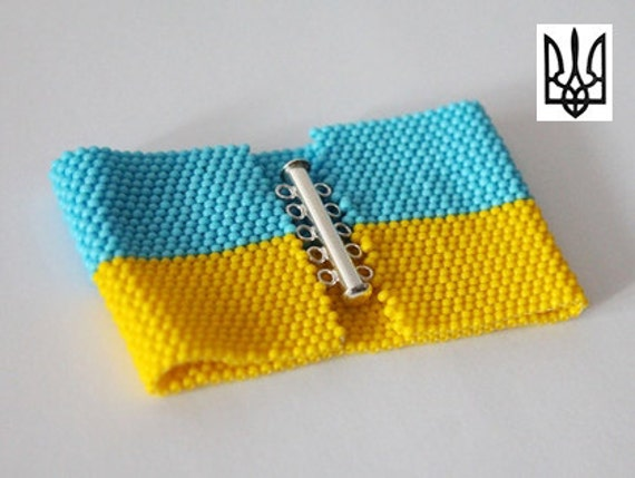 Ukrainian flag with coat of arms seed bead bracelet pattern for Patriotic beaded jewelry patterns