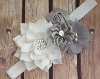 Grey headband, grey and white headband, flower girl headband, vintage headband, flower headband, floral headband, halo, baby bow, baby girl