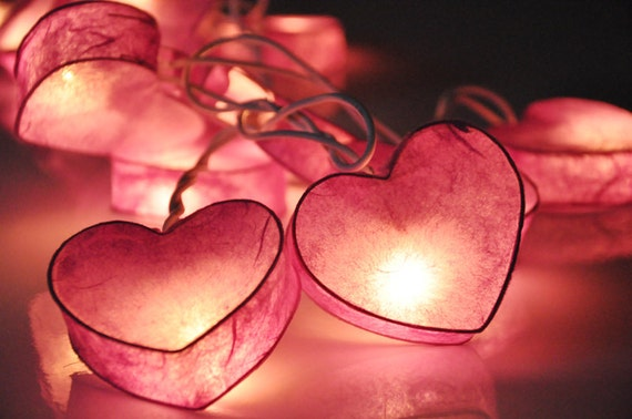 35 Pink Heart Valentine Paper Lantern String Lights for Home