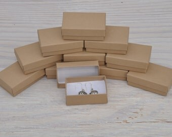 20 Jewelry Boxes 2.5x1.5x1 Kraft Retail Presentation with Cotton Fill Small Size 21
