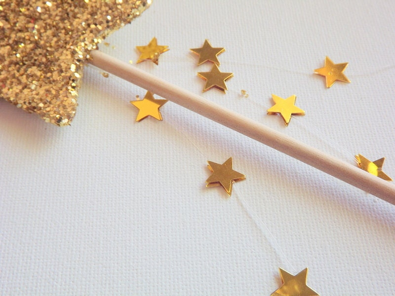 gold glitter star fairy wand princess party favors tea party. Black Bedroom Furniture Sets. Home Design Ideas