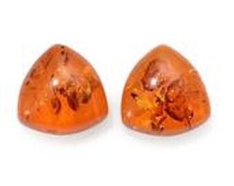 Baltic Amber Set of 2 Loose Gemstones Trillion Cabochon 1A Quality 7mm TGW 1.00 cts.