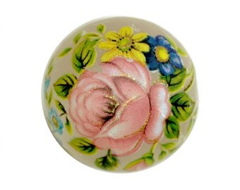 Tensha Bead Rose Flower 16mm Round Floral Decal