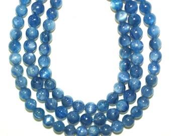 Kyanite Beads, Best Quality AAA,  Blue Kyanite 7mm Beads, Throat Chakra Stone