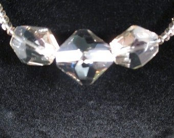 Champagne Geometric Three Crystal Choker Necklace