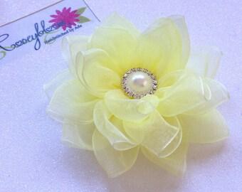 Yellow Flower Hair Clip-Bride Hair Clip-Bridesmaid Hair Clip-Bridal Hair Piece-Bride Head Piece-Organza Flower Bridal Hair Clip