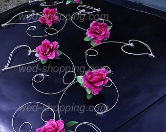 Wedding Car Decoration Kit Burgundy Roses DEK1022 Wedding Decoration Artificial Flowers Wedding Car Decor Kit