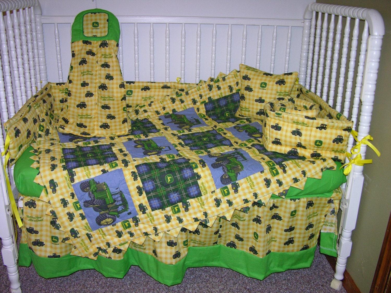 John Deere Tractor Bedding Set : John deere yellow tractor crib bedding set