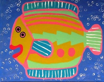 Happy Fish painting on canvas