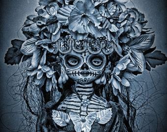 Beautiful Mortal Dia De Los Muertos Goth Blue Doll Doll PRINT 552 by Michael Brown