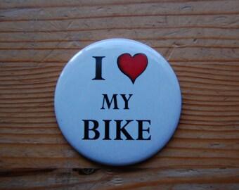 "Large I love My Bike Magnet 2.25"" diameter"
