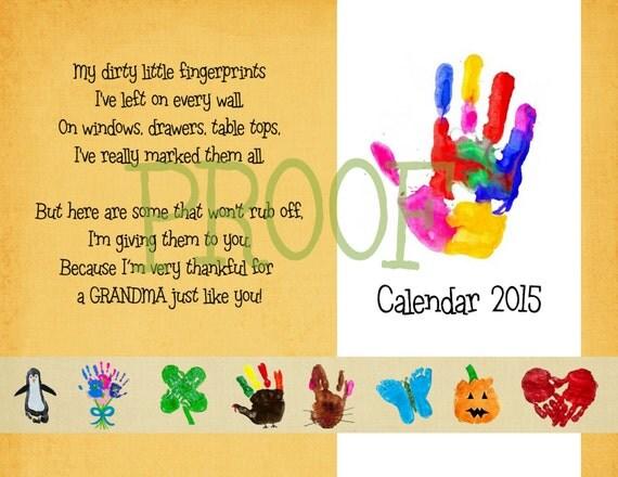 Calendar Ideas For Ks : Items similar to handprint calendar christmas gift