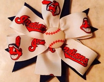 Cleveland Indians Hair Bow, Indians Hair Clip, Go Tribe, indians Boutique Style Hair Bow