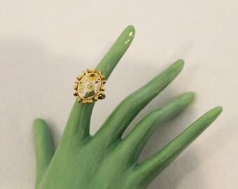 Vintage Gold and Floral Adjustable Ring