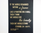 Gold foiled art print with lyrics from the Bright Eyes song, 'A Bowl of Oranges' on matt black card, size A4