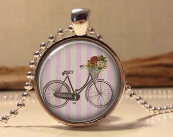Shabby chic Bicycle. Pink necklace.  Bicycle art pendant jewelry