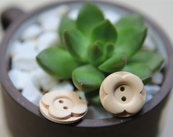 30 Pieces Natural Color Wood Buttons - 20mm - 2 Hole Natural Wooden Button Natural Color Carved Flower Shape