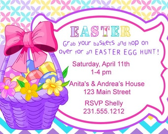 Easter Egg Hunt Invitation, Easter Party Invitation- Basket of Eggs Collection