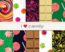 "Sweets Peppermint Candy Chocolate Bar Digital Paper Instant Download Scrapbook Kids Fun Art & Craft Supplies Design ""i <3 candy"""