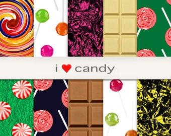 "Sweets Peppermint Candy Chocolate Bar Digital Paper Instant Download Scrapbook Kids Fun Art & Craft Supplies Design ""i <3 candy"""