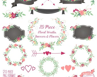 80% OFF SALE Floral Clipart, Floral Banners, Save the Date Clipart, Laurels, with Pink and Mint Colors