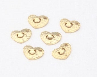 C- Alphabet, Initial, Letter Hammered Brass Pendant Matte Gold-Plated - 2 Pieces [P0237-MG]