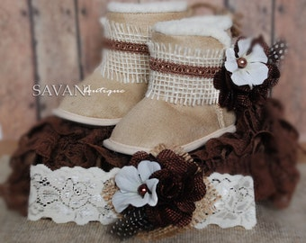 Baby lace outfits ,3 pcs BROWN IVORY petti romper, headband and boots, newborn photo props,Girl Baby petti rompers , flower baby girl