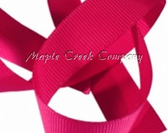 "5 yards Shocking Pink Grosgrain Ribbon, 4 Widths Available: 1 1/2"", 7/8"", 5/8"", 3/8"""