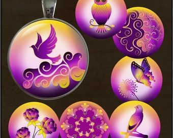 Purple Passion - One Inch Round -Digital Collage Sheet for pendants, magnets, bottle caps, paper crafts