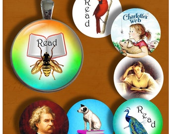 Read - One Inch Round -Digital Collage Sheet for pendants, magnets, bottle caps, paper crafts