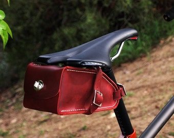 HAND MADE in USA Bicycle Wedge Bag, Burgundy Leather